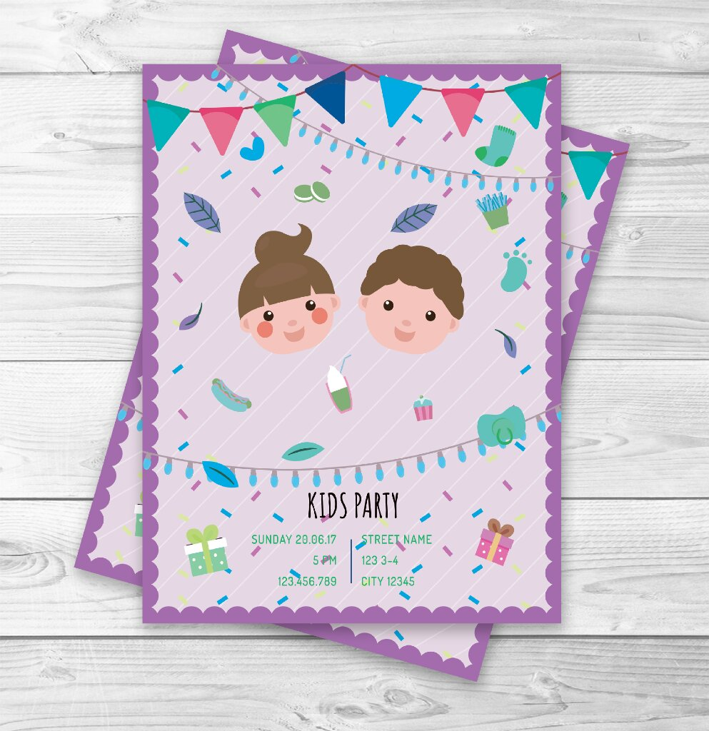 Cute Kids Birthday Party Invitations Personalized By Kate