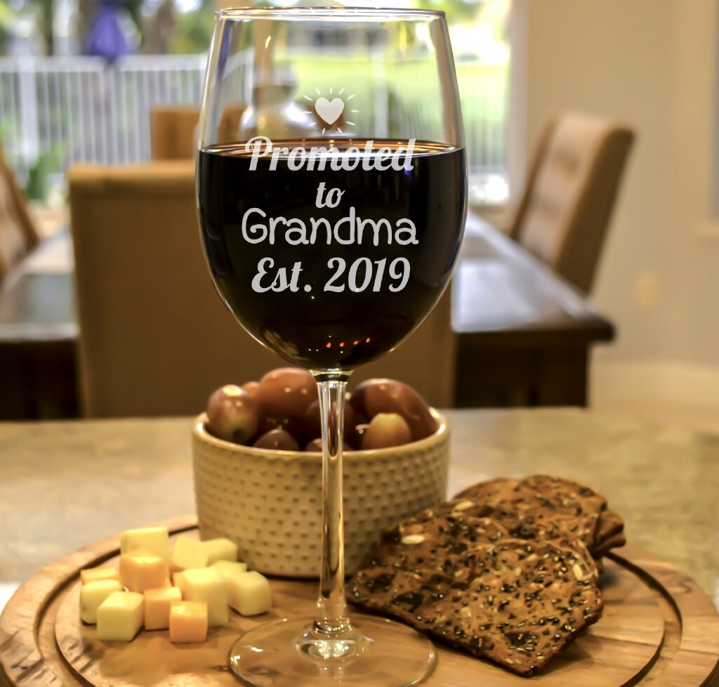 f9302d23805 Promoted to Grandma Wine Glass - Personalized by Kate