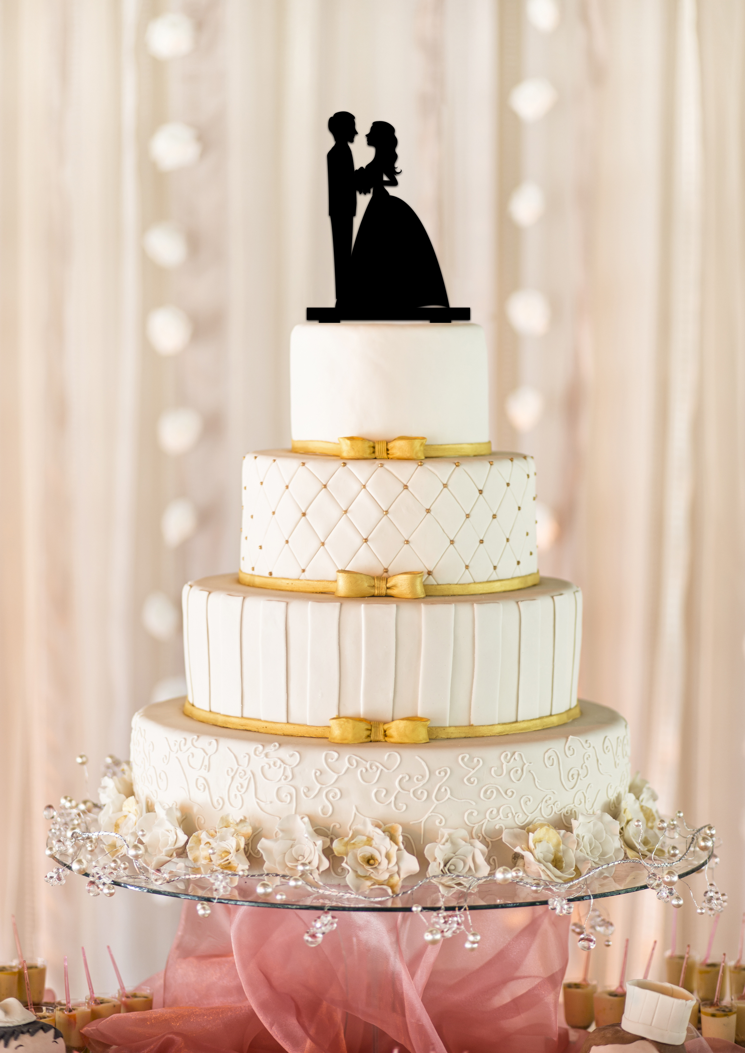 9b807fead974ea Couple Silhouette Wedding Cake Topper - Personalized by Kate