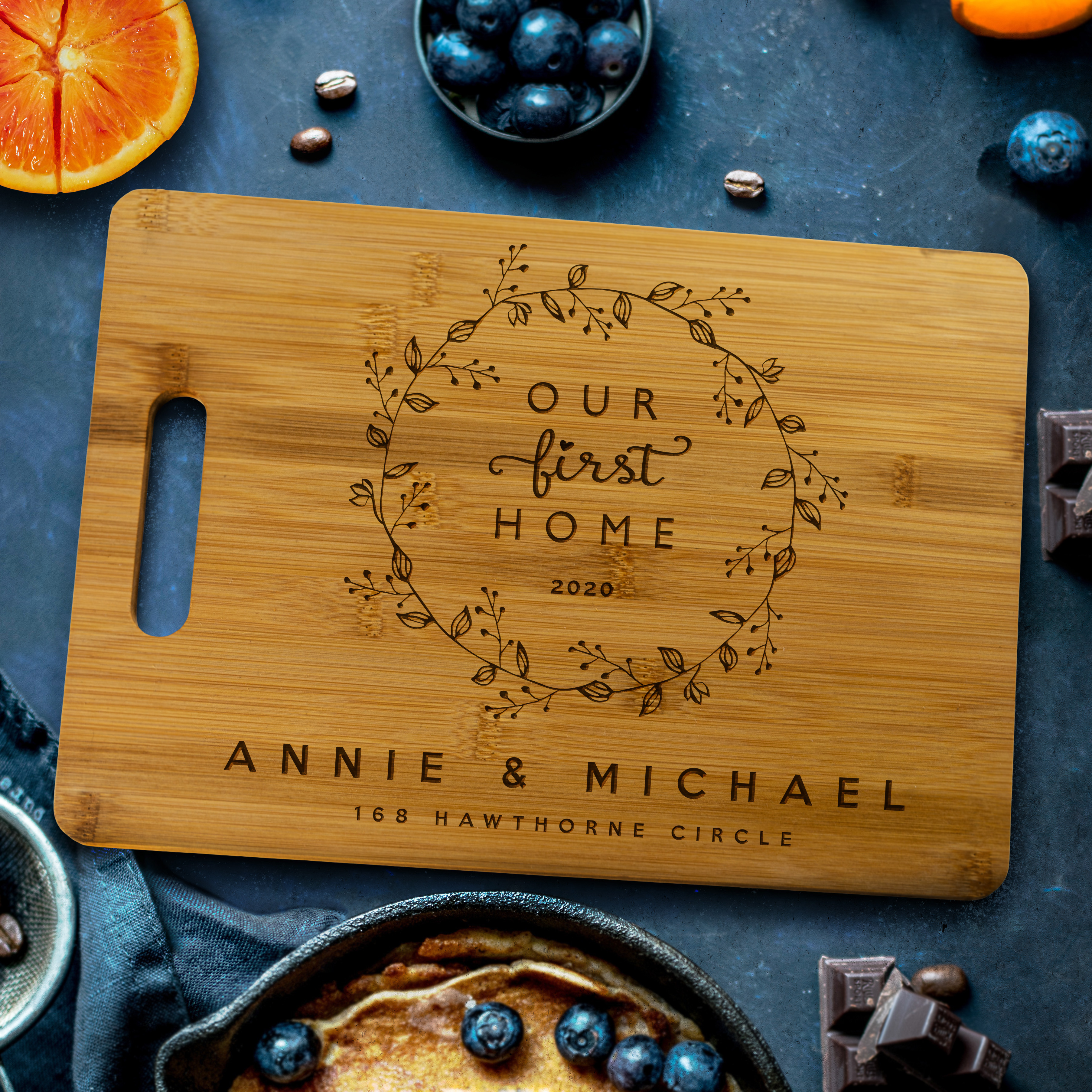 Our First Home Bamboo Cutting Board Personalized By Kate