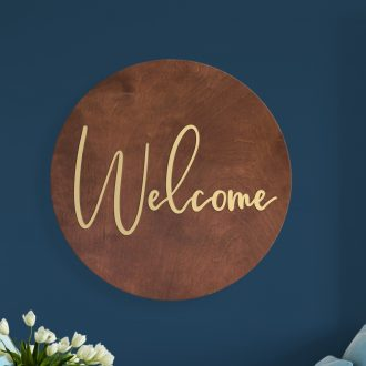Welcome Circular Wood Signs
