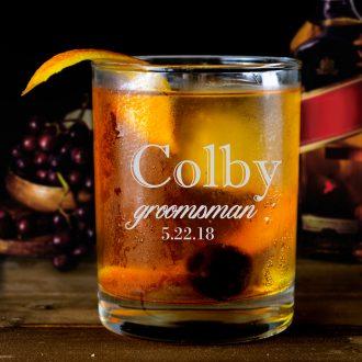 Large Name Groomsmen Whiskey Glass