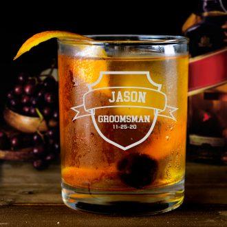 Shield Groomsmen Whiskey Glass