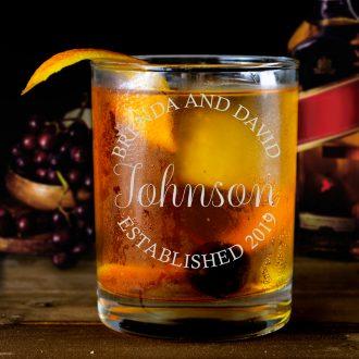 Circular Engraved Bride & Groom Whiskey Glass