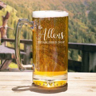 Family Name Script Font Beer Mug