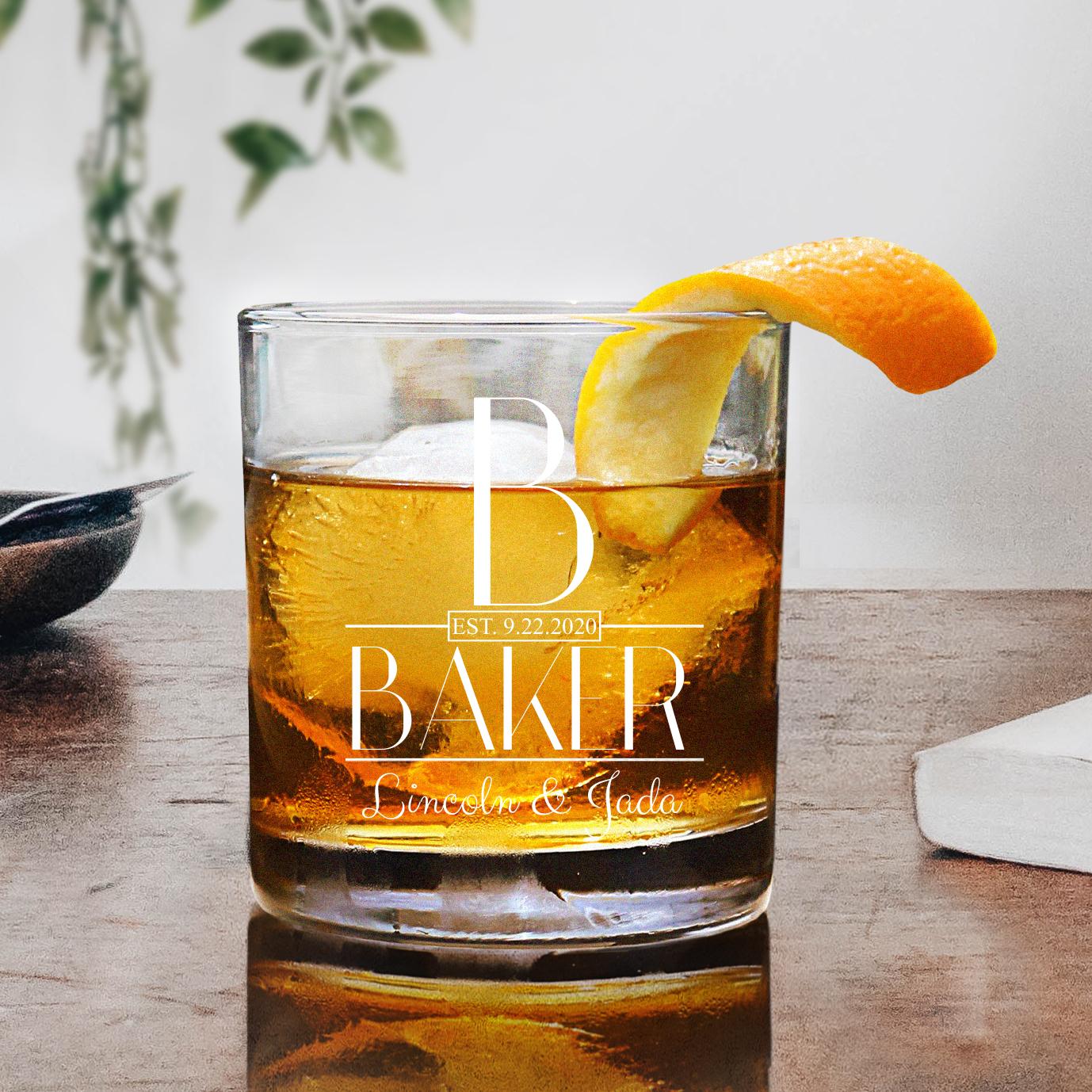 Deluxe Monogrammed Whiskey Glass