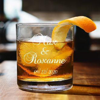 Husband & Wife Script Font Whiskey Glass