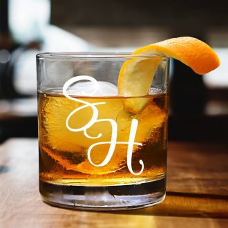 Bride & Groom Intertwined Initials Whiskey Glass