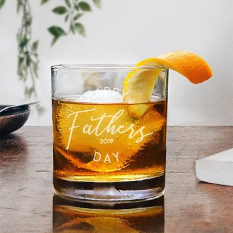 Happy Father's Day Script Text Whiskey Glass