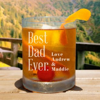 Best Dad Ever with Names Whiskey Glass