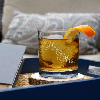 Mr. & Mrs. Script Font Whiskey Glass