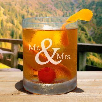 Mr. & Mrs. Serif Font Whiskey Glass