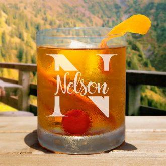 Script Name Monogram Whiskey Glass