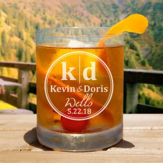 Couple Deluxe Monogrammed Whiskey Glass