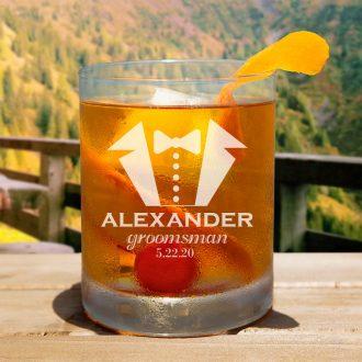 Tuxedo Groomsmen Whiskey Glass