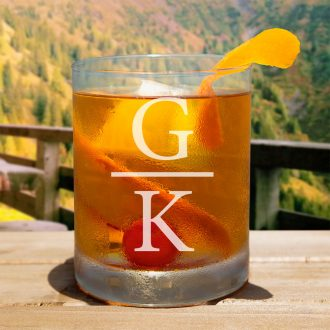 Bride Over Groom Initials Whiskey Glass