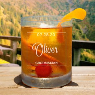 Name in Rectangle Groomsmen Whiskey Glass