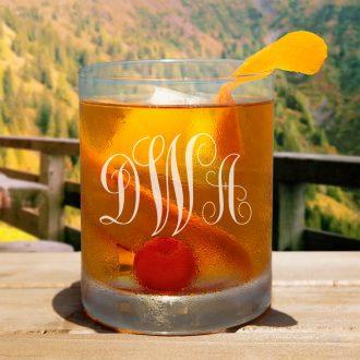 Monogrammed Whiskey Glass Script Font