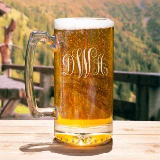 Monogrammed Script Font Beer Mug