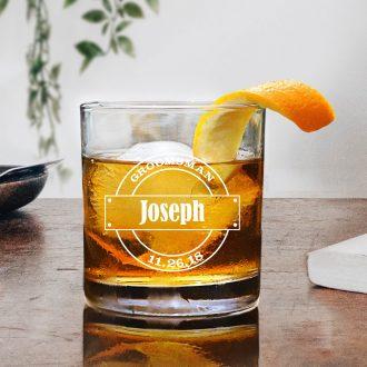 Circle Logo Groomsmen Whiskey Glass
