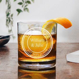 Circular Engraved Husband & Wife Whiskey Glass