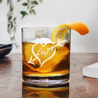 Personalized Arrow in Heart Whiskey Glass
