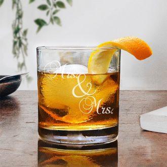 Mrs. & Mrs. Script Font Whiskey Glass