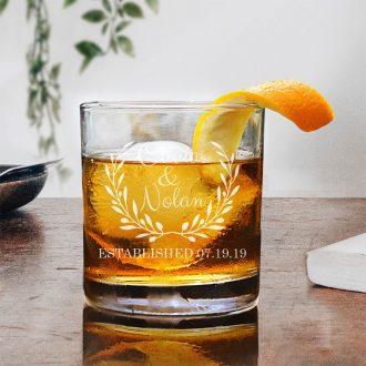 Bride & Groom Names in Laurel Whiskey Glass