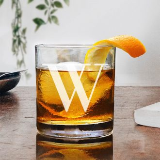 Simple Monogrammed Whiskey Glass
