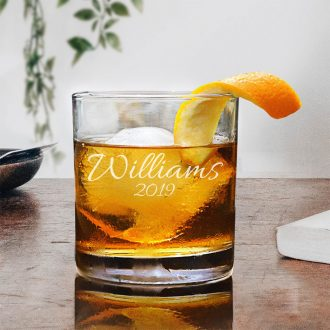 Name & Year Script Font Whiskey Glass