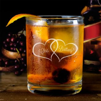Bride & Groom Names in Hearts Whiskey Glass