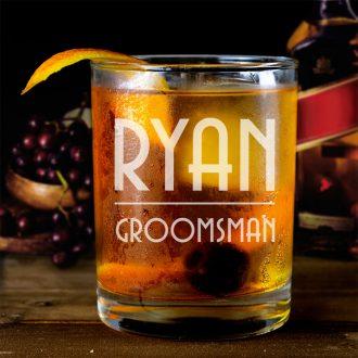 Name Underlined Groomsmen Whiskey Glass