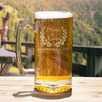 Bride & Groom Names in Laurel Beer Mug