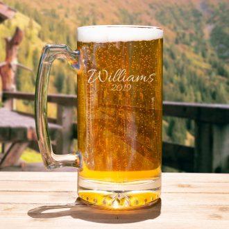 Surname & Anniversary Year Beer Mug in Script Font