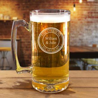Circular Engraved Husband & Wife Beer Mug