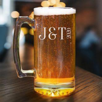 Bride & Groom Initials with Anniversary Beer Mug