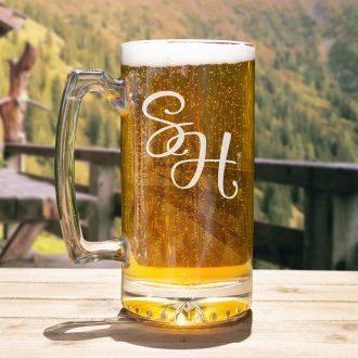 Bride & Groom Initials Beer Mug Script Font