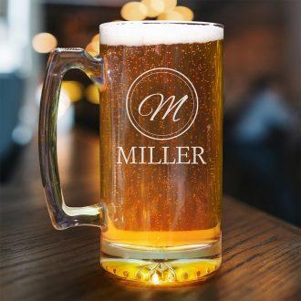 Encircled Monogram Beer Mug
