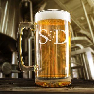 Bride & Groom Initials Beer Mug
