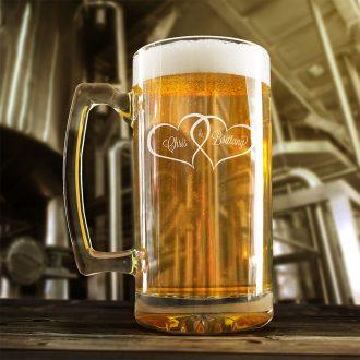 Bride & Groom Names in Hearts Beer Mug