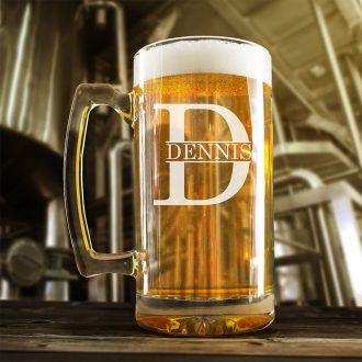 Name Inside Monogram Beer Mug