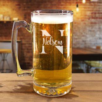 Script Name Inside Monogram Beer Mug