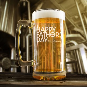 Happy Father's Day Beer Mug in Block Text